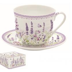 Porcelán reggeliző csésze aljjal, 400ml, Levendula mező