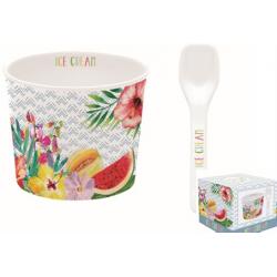 Porcelán fagyistálka 8,5cm, kanállal, Ice Cream Tropical