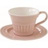 Porcelán csésze+alj 250ml, Abitare Chic - Halvány Rózsaszín