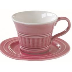Porcelán csésze+alj 250ml, Abitare Chic - Sötét Rózsaszín