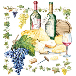 Papírszalvéta 20db-os, 33x33cm, Wine&Cheese