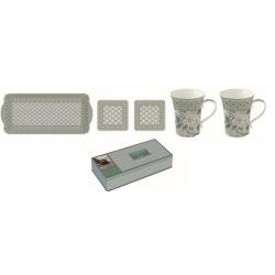 Porcelán szett, Bögre 2db, Tálca, parafa poháralátét 2db, Monsoon Zöld