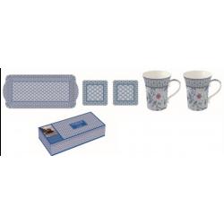 Porcelán szett, Bögre 2db, Tálca, parafa poháralátét 2db, Monsoon Kék