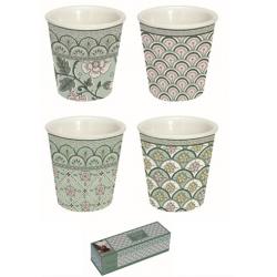 Porcelán eszpresszo szett 4 db, Monsoon Zöld