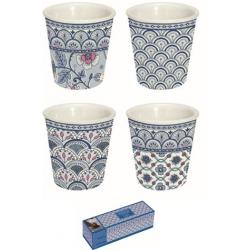 Porcelán eszpresszo szett 4 db, Monsoon Kék