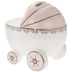 Porcelánpersely dobozban, rózsaszín babakocsi, 12x9x11cm