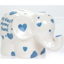 """Porcelánpersely elefántos, """"Első perselyem"""" , 16x11x8cm"""
