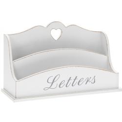 Asztali fa levéltartó - 26x8x15cm, fehér