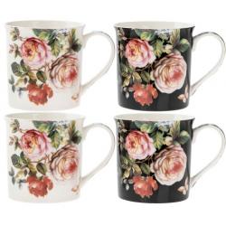 Porcelán bögre szett 4 db-os, 300ml, Damask Rose
