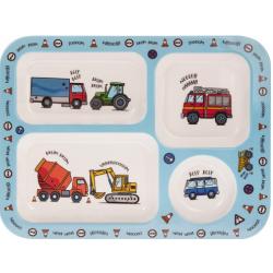 Műanyag gyermek tálka 4 rekeszes, 33x33x2cm, Autós