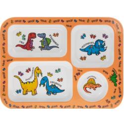 Műanyag gyermek tálka 4 rekeszes, 33x33x2cm, Dinoszaurusz