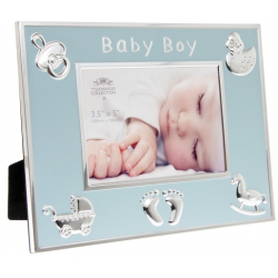 Fotókeret 22x15x17cm, fém és műanyag, Baby Boy