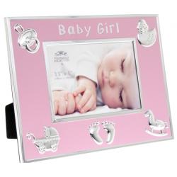 Fotókeret 22x15x17cm, fém és műanyag, Baby Girl