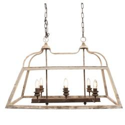 Mennyezeti lámpa, fém, fa, 87*35*60 cm, régies