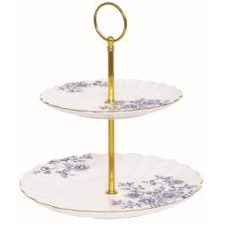 Porcelán 2 emeletes tortatál/kínáló - Blue Penoies