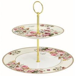 Porcelán 2 emeletes tortatál/kínáló - Blooming Opulence