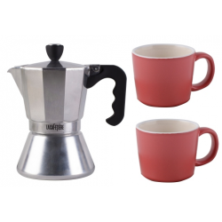 Kávéfőző 150ml, Chrome+2db piros kerámia presszócsésze, 100ml, La Cafetiére