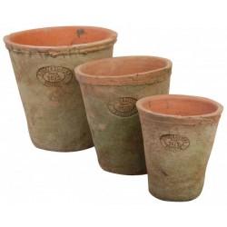 Terracotta virágcserép szett alátéttel, kerek