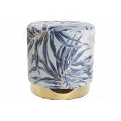 Lábtartó fém, szövet 35X35X35cm - Kék-arany pálma