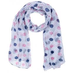 Textilsál 90x180cm, kék-rózsaszín pöttyös
