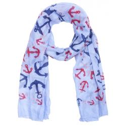Textilsál 70x180cm, kék-piros horgonyos
