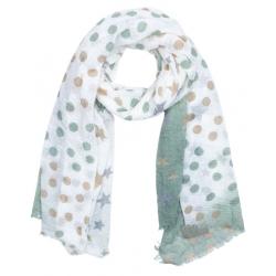 Textilsál 90x180cm, zöld-barna pöttyös