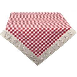 Asztalterítő, pamut 150x250cm - piros, kakasos