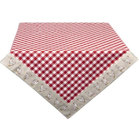 Asztalterítő, pamut 130x180cm - piros, kakasos