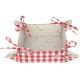 Kenyérkosár-textil béléssel, 35x35cm - piros, kakasos