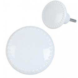 Ajtófogantyú kerámia 4cm, Fehér színű