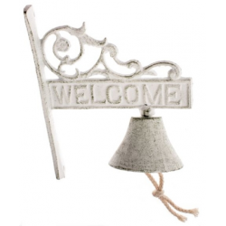 Öntöttvas falikolomp 17x21x9cm, Welcome, antikfehér