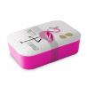 Bambusz ételtároló doboz 19x13x6,5cm szilikon elválasztóval, Pretty Flamingo