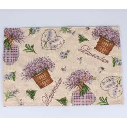 Textil tányéralátét 33x48cm, Levendulás, szíves