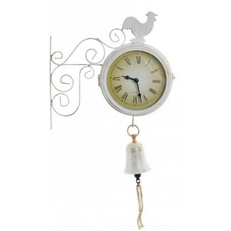 Fém fali óra kolomppal - kakasos, fehér
