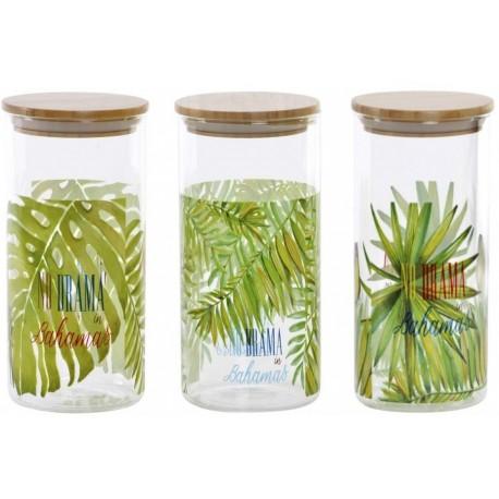 Tároló üveg bambusz fedővel, Nagy - Bahamas - 3 Féle