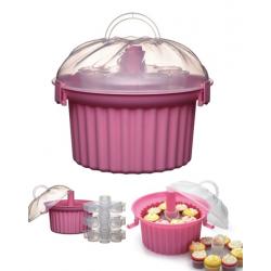 Muffinszállító műanyag doboz, 3 emeletes, 24 muffinnak
