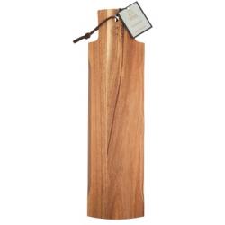Akácfa kínálólap bőrszíjjal, 48x13cm