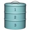 Süteménytároló fémdoboz 3 emeletes, 22x27cm, kék