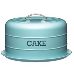 Hordozható tortatartó fémdoboz szilikonzárással, 28,5x18cm, kék