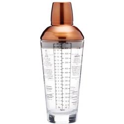 Üveg coctail shaker 650ml, beépített szűrővel, rozsdamentes acél tetővel