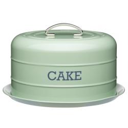 Hordozható tortatartó fémdoboz szilikonzárással, 28,5x18cm, zöld