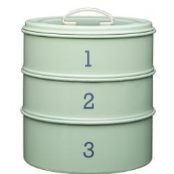 Süteménytároló fémdoboz 3 emeletes, 22x27cm, zöld