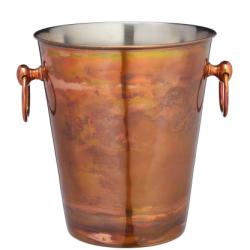 Rozsdamentes acél pezsgőhűtő vödör, 20x23cm, irizáló réz színű