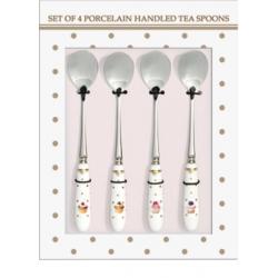 Porcelánnyelű 4 db-os teáskanál szett - Dots&Cupcakes