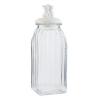 Tároló üveg bordás,kerámiatetővel 10x10x29cm,cicapárral