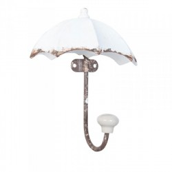 Falifogas fém - Esernyő formájú - Antikolt fehér