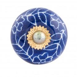 Kerámia ajtógomb, kék virágos arany rátéttel, 4x4cm