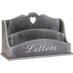 Asztali fa levéltartó  - 26x8x15cm, szürke