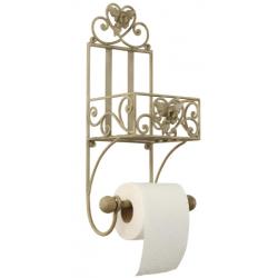 Fém toalettpapír tartó fali, polccal 20x15x43cm