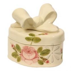 Kerámia doboz, ovál - Vanilia Kerámia/Romantik rózsás